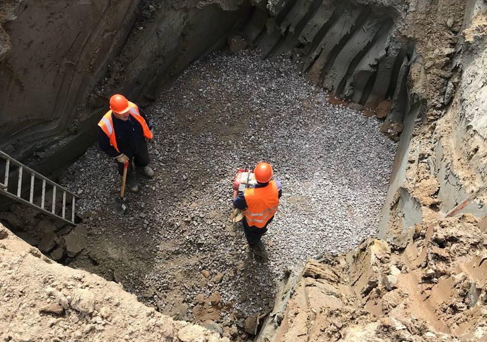 Строительство канализации Д1000мм: г. Санкт — Петербург, пос. Стрельна, красносельское шоссе